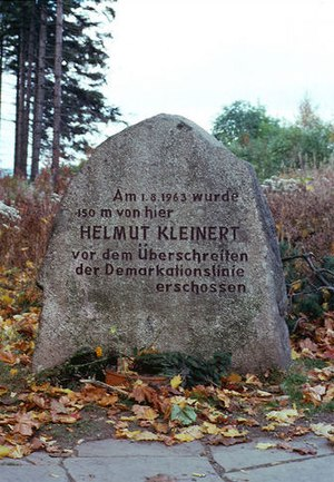 Escape attempts and victims of the inner German border - West German memorial to Helmut Kleinert, shot dead on the border on 1 August 1963.