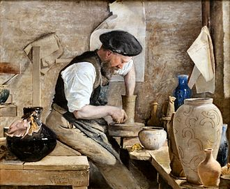 Kähler Keramik - Herman Kähler in his Workshop, painting by L.A. Ring (1890)