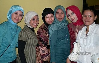 French law on secularity and conspicuous religious symbols in schools - Most of the debate about the law centred on the use of the hijab (similar to the one worn by these Indonesian women) by female Muslim students