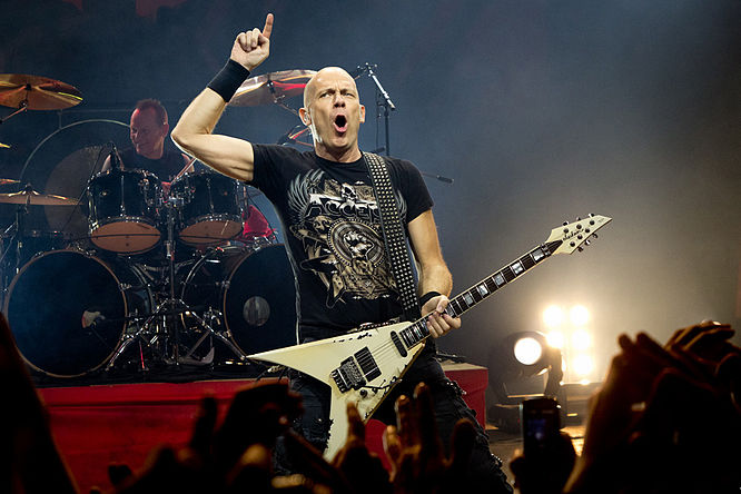 Wolf Hoffmann with Accept in Minsk, Belarus, 2011. Hoffmann has been Accept's guitarist since its inception in 1976. Hoffmann.jpg