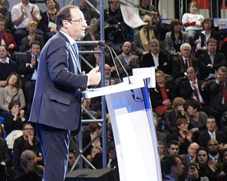 2012 François Hollande presidential campaign - Hallonde speaking at a campaign rally