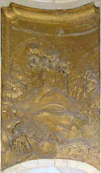 Noah's first burnt offering after the Flood - relief in Holy Trinity Column in Olomouc.