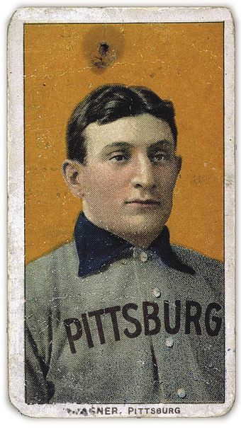 The American Tobacco Company's line of baseball cards featured shortstop Honus Wagner of the Pittsburgh Pirates from 1909 to 1911. In 2007, the card shown here sold for $2.8 million. HonusWagnerCard.jpg