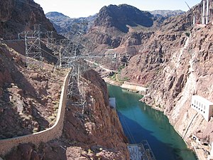 Inclined tower - Inclined transmission towers at the Hoover Dam on the border of Arizona and Nevada.