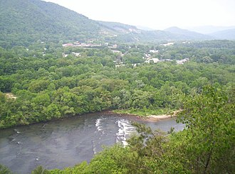 Hot Springs, North Carolina - Hot Springs viewed from a cliff along the Appalachian Trail