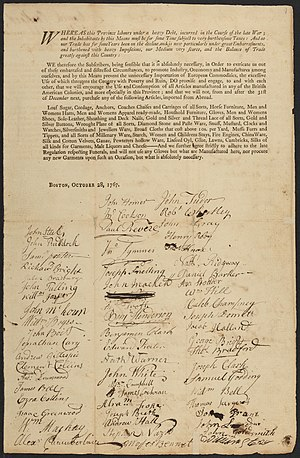Townshend Acts - Non-importation agreement, dated October 1767, signed by Bostonians including Paul Revere