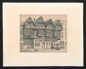 Houten gevels op het St. Walburgisplein ca. 1846