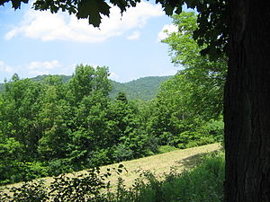 Battle of Hubbardton - The military road to Hubbardton passed (and still passes) through the center gap in the hills in the photo's background