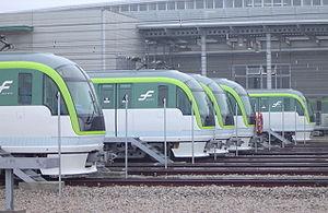 Nanakuma Line - 3000 series trainsets at Hashimoto depot