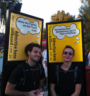Human billboard - Human billboards advertising human billboards, in Melbourne, Australia