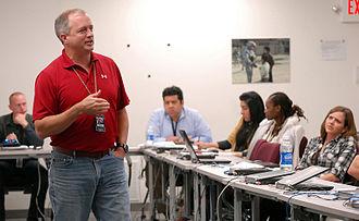 Human Terrain System - An HTS senior seminar leader provides feedback to Human Terrain Teams at Fort Leavenworth in May 2010
