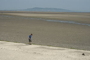 English: Sandymount Strand, Howth Head in the ...