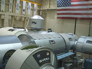 Assembly of the International Space Station - International Space Station mockup at Johnson Space Center in Houston, Texas.