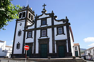 Nossa Senhora do Rosário - Front facade of the parochial church of Nossa Senhora do Rosário in the centre of the city of Lagoa