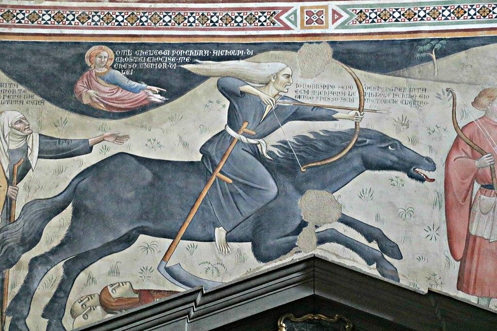 Affresco Trionfo della Morte, attribuito a Bartolo di Fredi, Chiesa di San Francesco (Lucignano)