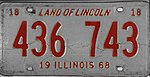 Illinois 1968 license plate - Number 436 743.jpg