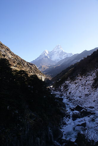 Imja Khola - Imja Khola river with Ama Dablam in the background