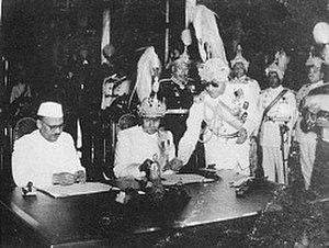 1950 Indo-Nepal Treaty of Peace and Friendship - Last Rana Prime Minister of Nepal, Mohan Shamsher Jang Bahadur Rana and Indian ambassador to Nepal, Chandeshwar Prasad Narayan Singh signing the treaty, 31 July 1950.