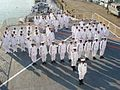 Indian Navy personnel during a ceremony at sea in 2007.jpg