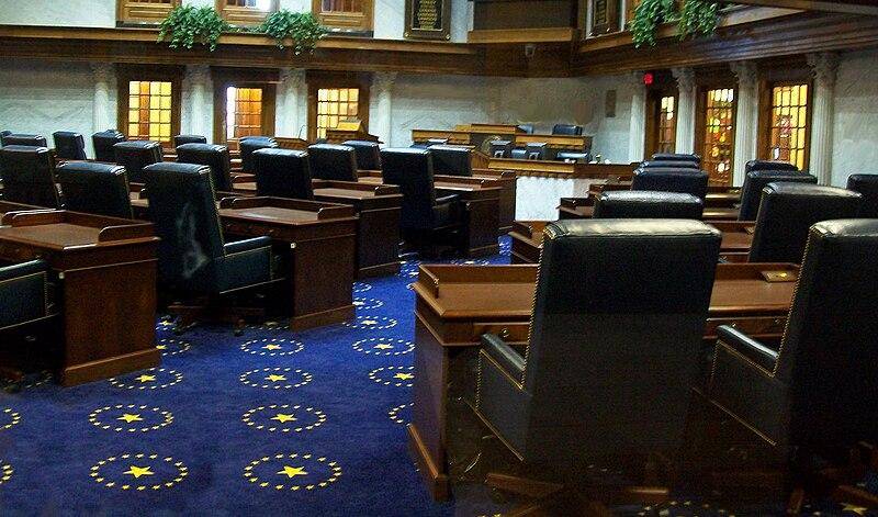 File:Indiana State Senate Chamber, Indiana Statehouse, Indianapolis, Indiana.jpg
