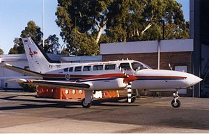 Indonesia Air Transport - IAT Cessna 404 at Perth Airport (1999).