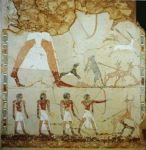 Ineni - Ineni (upper left, partly destroyed) in a hunting scene from his tomb TT81.