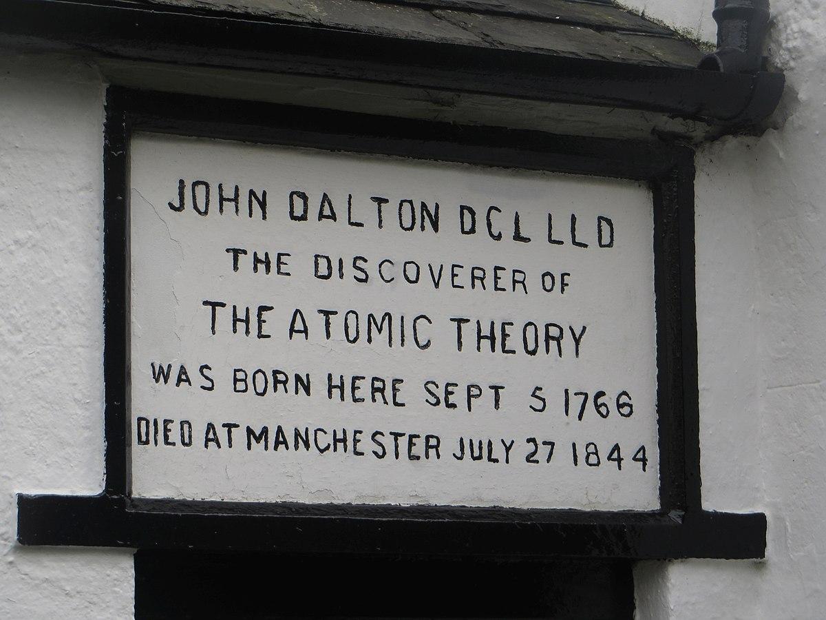 Inscription above the door, birthplace of John Dalton, Eaglesfield (geograph 4245532).jpg