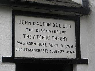 Eaglesfield, Cumbria - Image: Inscription above the door, birthplace of John Dalton, Eaglesfield (geograph 4245532)