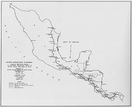 1933 map of the Mexican portion of the Pan-American Highway. Inter-American Highway map October 1933.jpg