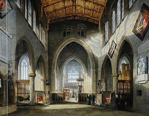 All Saints Church, Rotherham - The Interior of Rotherham Parish Church by William Cowen in 1848