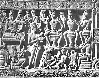 Family of Gautama Buddha - The sculpture depicts a scene where three soothsayers are interpreting to King Suddhodana the dream of Queen Maya. Nagarjunakonda, 2nd-century