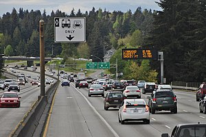 High-occupancy vehicle lane - A high-occupancy vehicle lane on Interstate 5 in Seattle, Washington, United States.