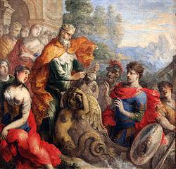 Peinture du XVIIe siècle. Accompagné de sa Cour, Éole offre des outres remplies de vent à Ulysse installé dans un bateau somptueusement décoré