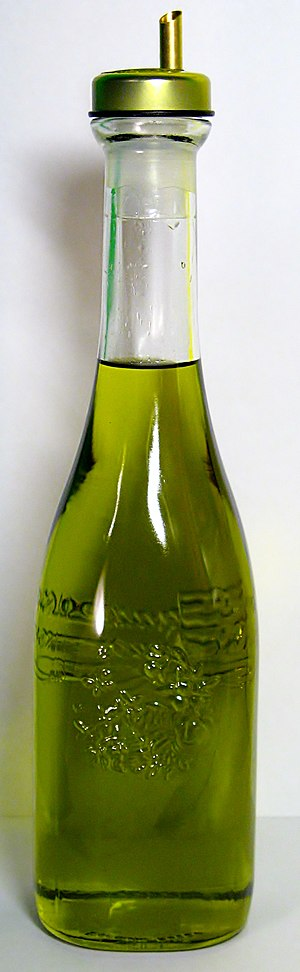 Oil - A bottle of olive oil used in food