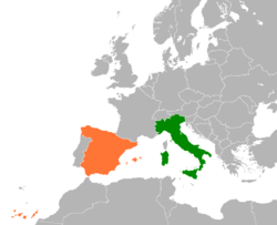 Map indicating locations of Italy and Spain