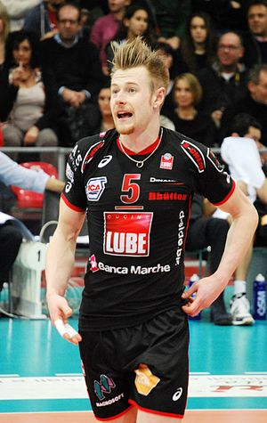 Ivan Zaytsev (volleyball) - During the match as a Lube Banca Macerata player on January 8, 2014.