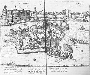 Jakobea of Baden - Spectacle on the Rhine: The deeds of Hercules with fireworks; in the background Düsseldorf Castle, picture from the aforementioned volume by Graminäus