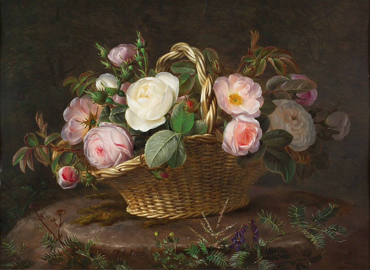 J.L. Jensen, Kurv med blomster på en sten, ca. 1843. Privateje.jpg