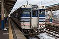 JNR Kiha 47 Niigata livery at Sakata Station .jpg