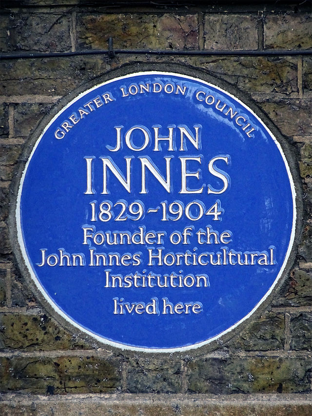 John Innes blue plaque - John Innes 1829-1904 founder of the John Innes Horticultural Institute lived here