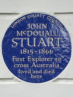 Photo of John McDouall Stuart blue plaque
