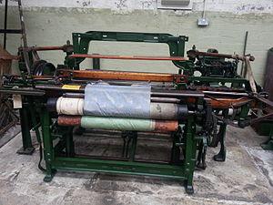 Platt Brothers - Jacquard Loom manufactured by Platt Brothers of Oldham. Loom is on display at Queen Street Mill Textile Museum, Harle Syke, Burnley.