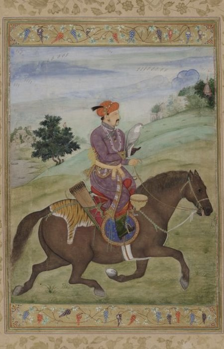 Jahangir hunting with a falcon.