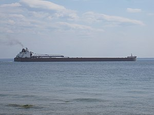 Lake freighter - Freighter James R Barker crossing the straits at Mackinac