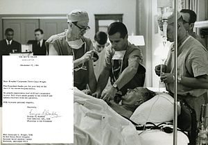 Jeremiah Wright - Image: Jeremiah Wright as a Marine Medic Tending to Pres Lyndon Johnson