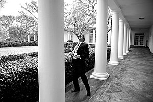 Jeremy Bernard - Bernard catches snowflakes on the Colonnade of the White House, Feb, 2014.
