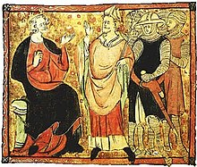 Manuscript illustration. The central man is wearing robes and a mitre and is facing the seated figure on the left. The seated man is wearing a crown and robes and is gesturing at the mitred man. Behind the mitred figure are a number of standing men wearing armor and carrying weapons.