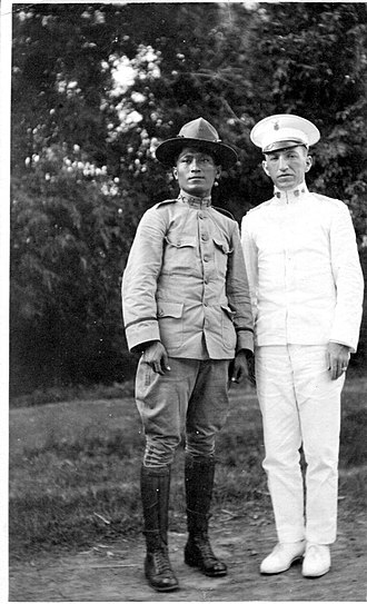 Joseph Stevenot - Lt. Miguél Aguinaldo and Maj. Josephus Stevenot on the road to Cavite, 1917
