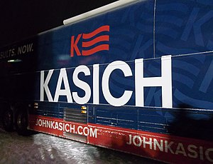 John Kasich presidential campaign, 2016 - John Kasich campaign bus