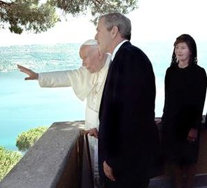 Papal Palace of Castel Gandolfo - Pope John Paul II with US President George W. Bush and his wife Laura during their first meeting at the Papal Palace of Castel Gandolfo in July 2001.